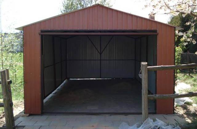 Garaż blaszany 3,5x6m brązowy