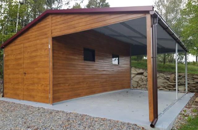 Garaż drewnopodobny duży